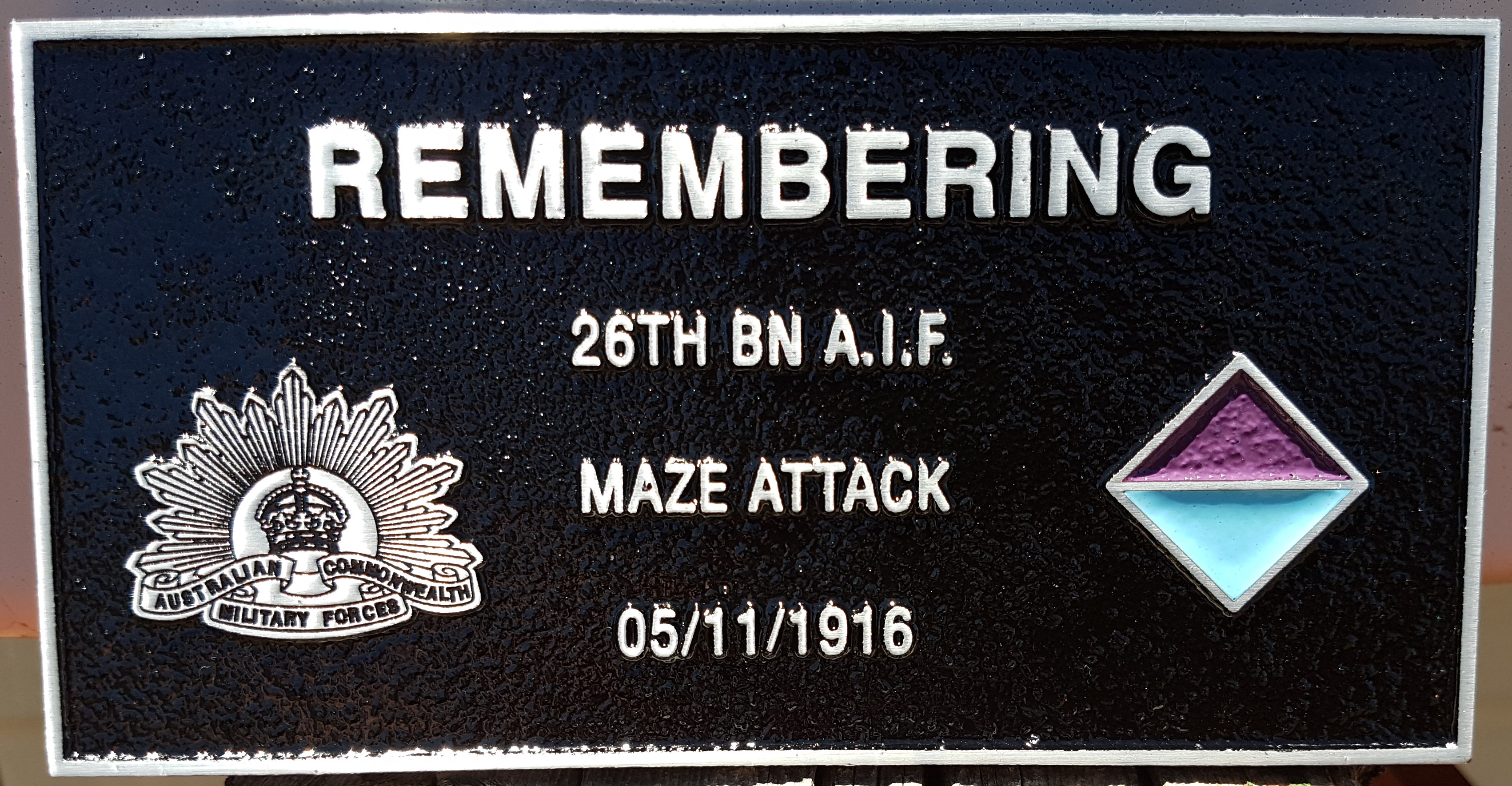 26th Battalion plaque