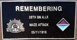 26th Battalion plaque