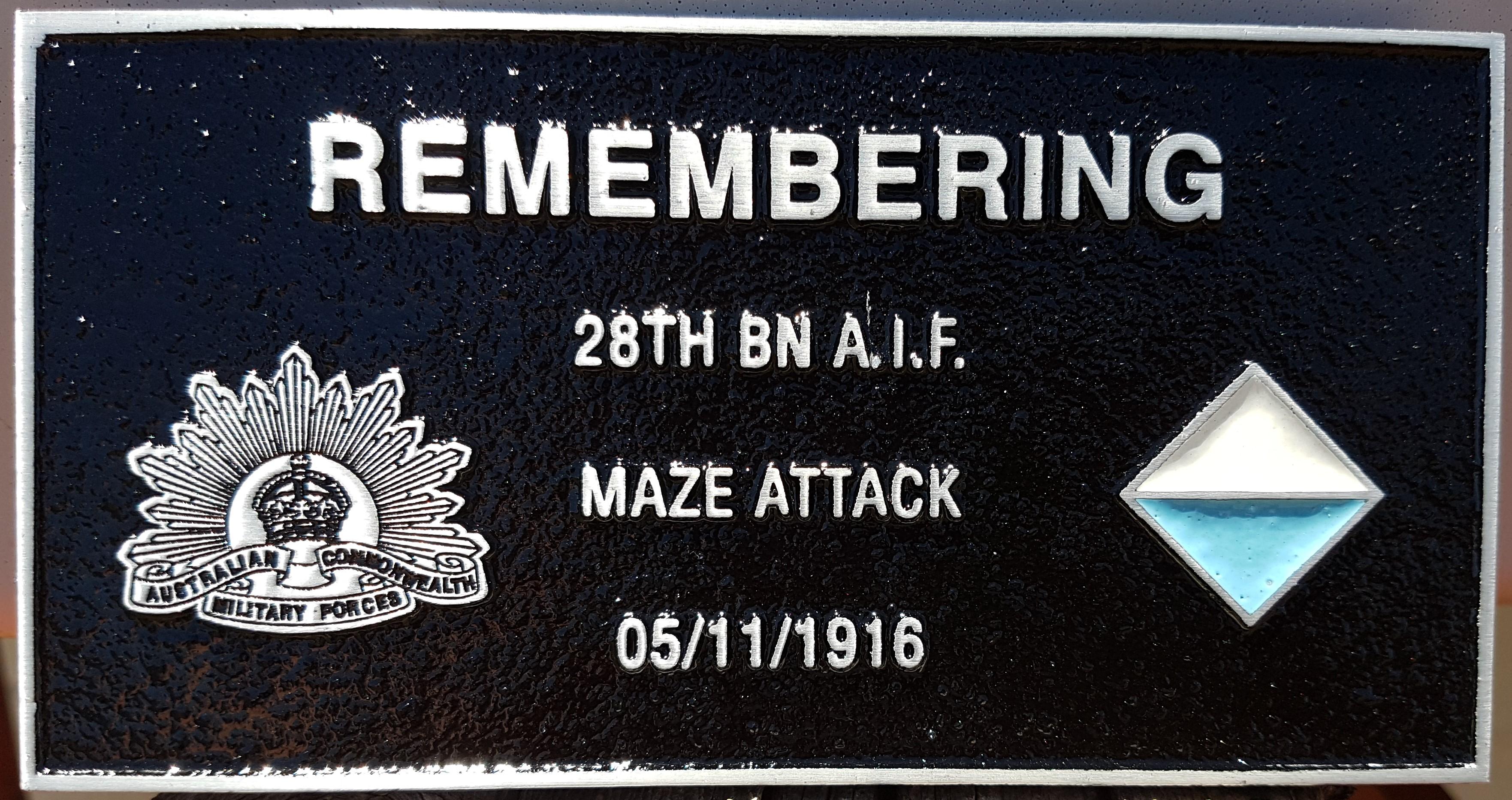 28th Battalion plaque