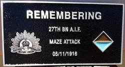 27th Battalion plaque