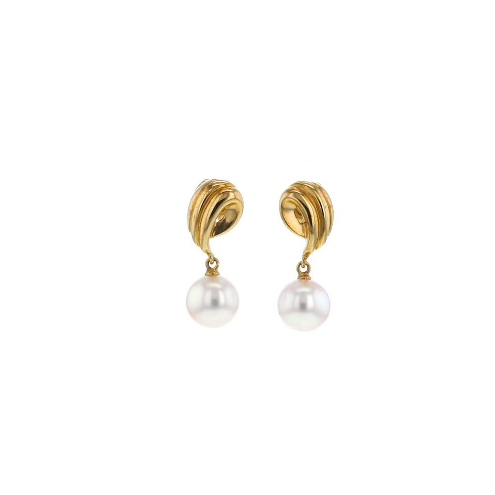 Boucles d'oreilles Vintage en or jaune et perles de culture