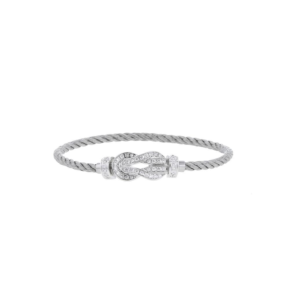 Bracelet Fred 8°0 et ses deux bracelets amovibles en acier gris, or blanc et diamants