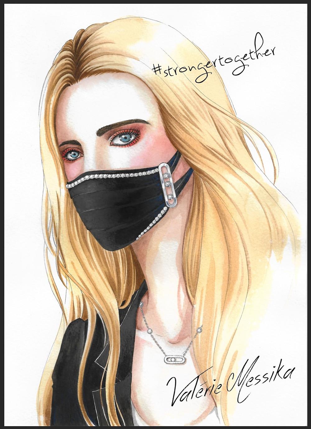 Le masque bijou piqué de trois diamants imaginé par Valérie Messika