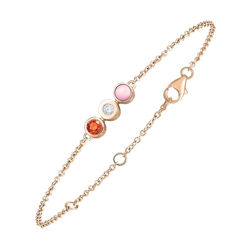 Bracelet en or rose Gemmyorama serti d'un diamant, d'une opale rose et d'un grenat