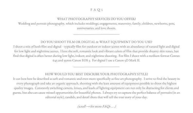 FAQs Kate Romenesko Photography