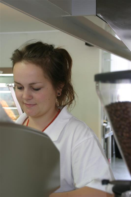 Nadine making coffee for you