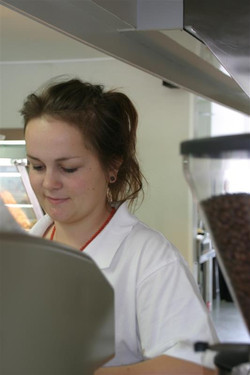Nadine making coffee for you