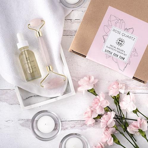 Rose Quartz Facial Roller + Elasticity Serum Gift Set