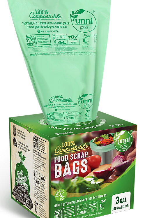 3 Gallon Compostable Small Food Scrap Bags 100ct