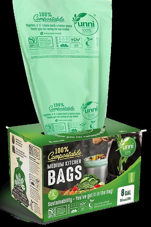 6-8 Gallon Compostable Medium Garbage Bags 50ct