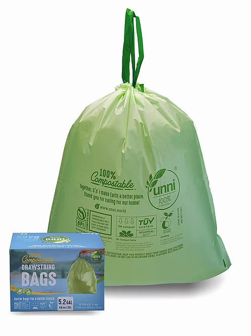 5.2 Gallon Compostable Drawstring Trash Bags 60ct