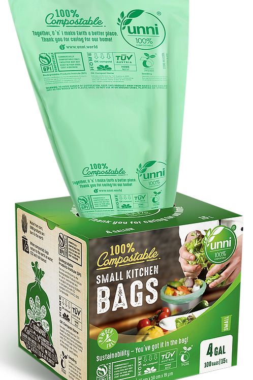 4 Gallon Compostable Small Garbage Bags 100ct