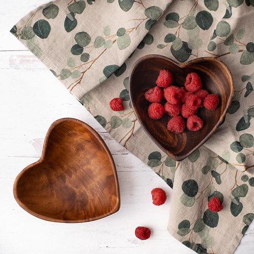 Acacia Wood Heart Bowl