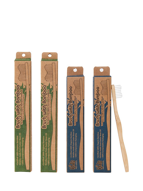 Toothbrushes with Biodegradable Handle & Bristles - Family Pack