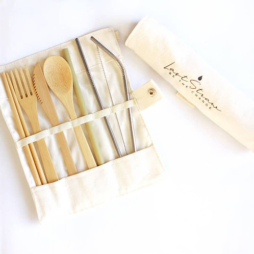 Bamboo & Stainless Steel Utensil/Straw Set