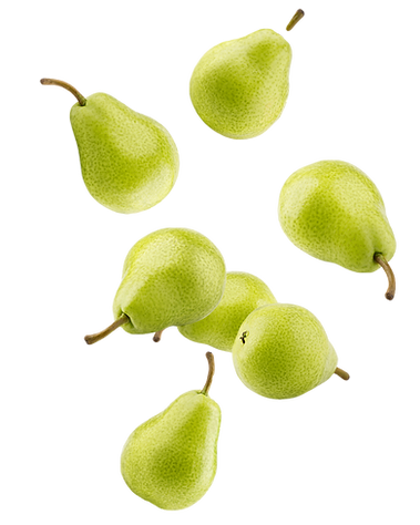 Falling pear, isolated on white backgrou