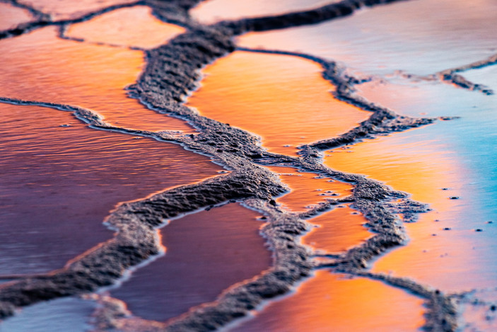 Grand Prismatic Sunset Reflection