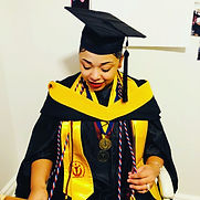Antonia Davis Master of Science Degree cap and gown