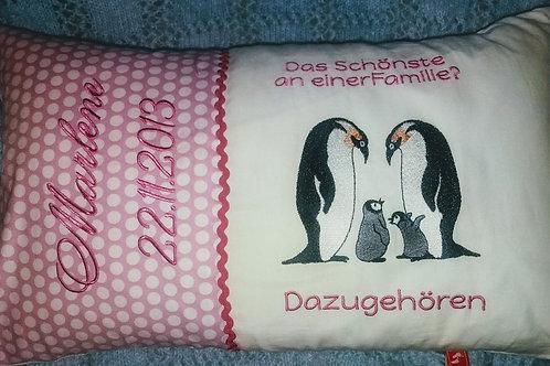 """Schmusekissen """"Pinguin-Familie""""Erinnerungskissen, Namenskissen"""
