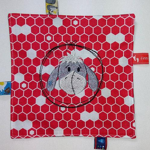 Knistertuch Schmusetuch Babyspieltuch Motoriktuch Kleiner Esel, rot