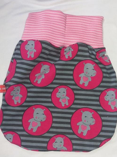 Puppenschlafsack Puckschlafsack Kleine Nilpferde, pink