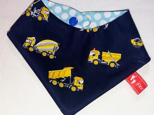 Baby-Halstuch Kinderhalstuch Sabberschutz Baumwolle dunkelblau Baufahrze