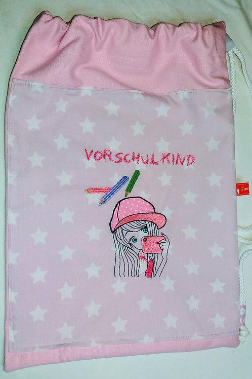 """Turnbeutel """"Vorschulkind"""" für kleine große Vorschulkinder, rosa"""