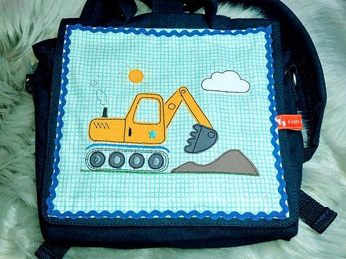 Kinder-Umhängetasche Bagger, Kindergartentasche, Kita-Tasche Baustelle