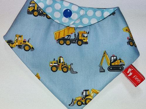 Baby-Halstuch Kinderhalstuch Sabberschutz Baumwolle hellblau Baufahrzeuge