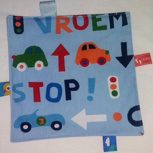 Knistertuch-Schmusetuch-Babyspieltuch-Motoriktuch-Autos-Buchstaben-Namen