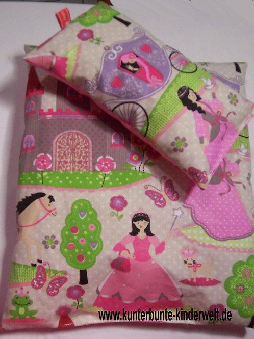 Puppenwagen-Kissen Puppenbett-Kissen Prinzessin mit Schloss