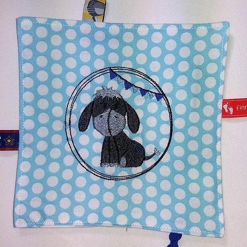 Knistertuch Schmusetuch Babyspieltuch Motoriktuch Kleiner Esel, blau