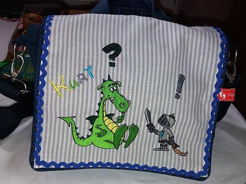 Kinder-Umhängetasche Drachenbändiger, Kindergartentasche, Kita-Tasche Ritter