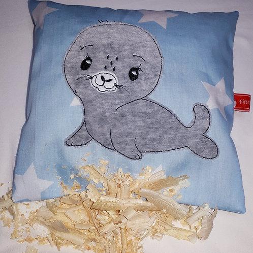 Zirbenkissen  Robbe, Zirbenholzkissen, blau oder rosa, Kleiner Heuler