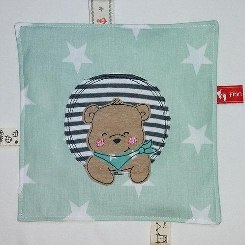 Knistertuch Schmusetuch Babyspieltuch Motoriktuch Finn der Bär, grün
