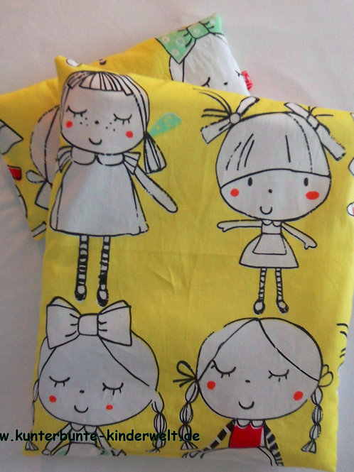 Puppenwagen-Kissen Puppenbett-Kissen Mädchen 2-tlg.