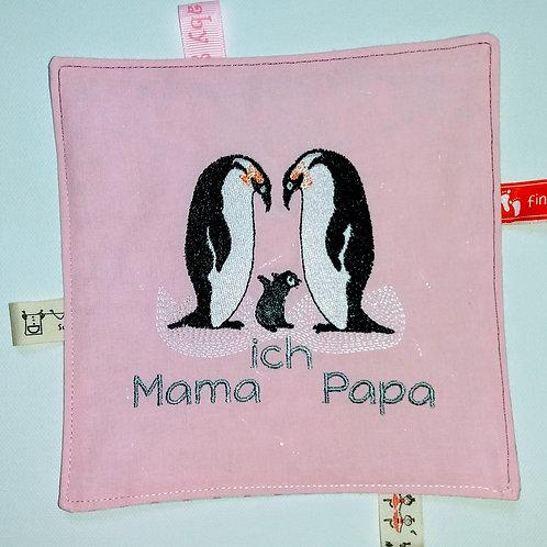 Knistertuch Schmusetuch Babyspieltuch Motoriktuch Pinguin-Familie, rosa