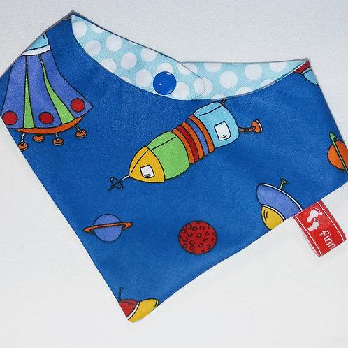 Baby-Halstuch Kinderhalstuch Sabberschutz Baumwolle dunkelblau Raumfahrt