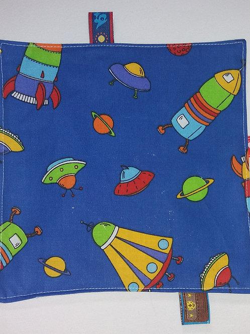 Knistertuch Schmusetuch Babyspieltuch Motoriktuch dunkelblau,Raumfahrt