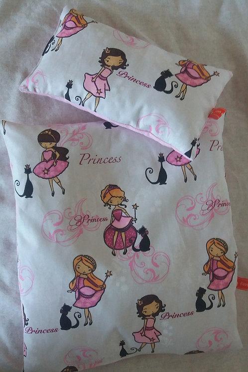 Puppenwagen-Kissen Puppenbett-Kissen Prinzessin und Katze