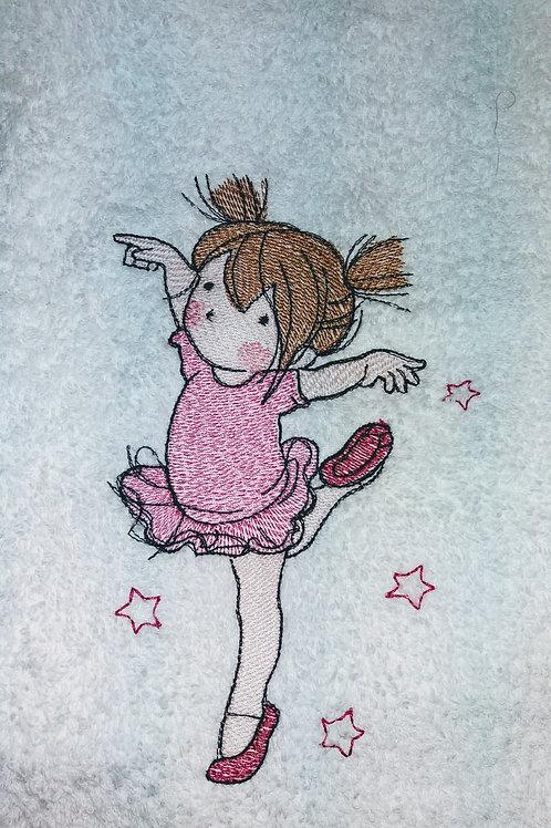 Kuschelweiches Handtuch mit einer kleinen, niedlichen Ballerina