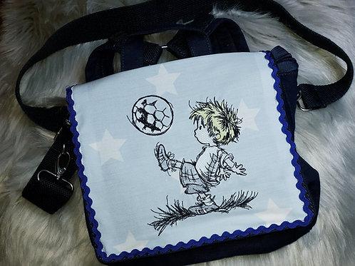 Kinder-Umhängetasche Fußballspieler, Kindergartentasche, Kita-Tasche Fußball