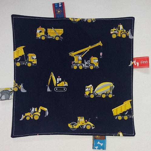 Knistertuch Schmusetuch Babyspieltuch Motoriktuch hellblau, Baufahrzeuge
