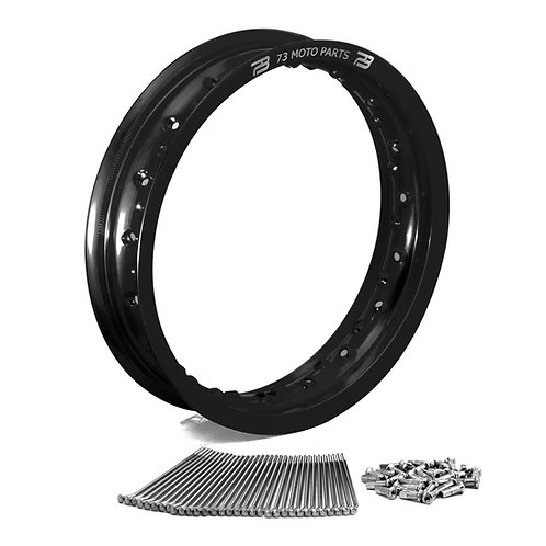 "KX85 / KX100 12"" x 2.5"" Minimoto Front Rim with Buchanan Spoke Kit Black"