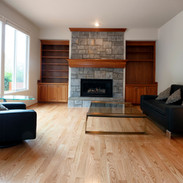 Family room remodeled with solid red oa