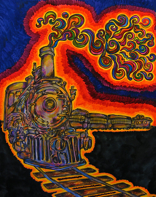 5x7 Print - Psychedelic Train Ride at Night