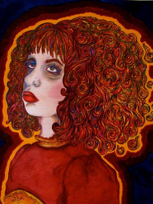 5x7 Print - Self Portrait with Fire Hair