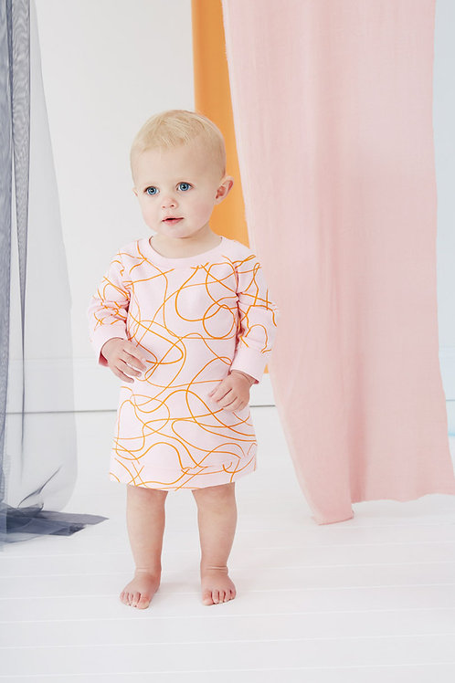 Pink Scribble Baby Dress