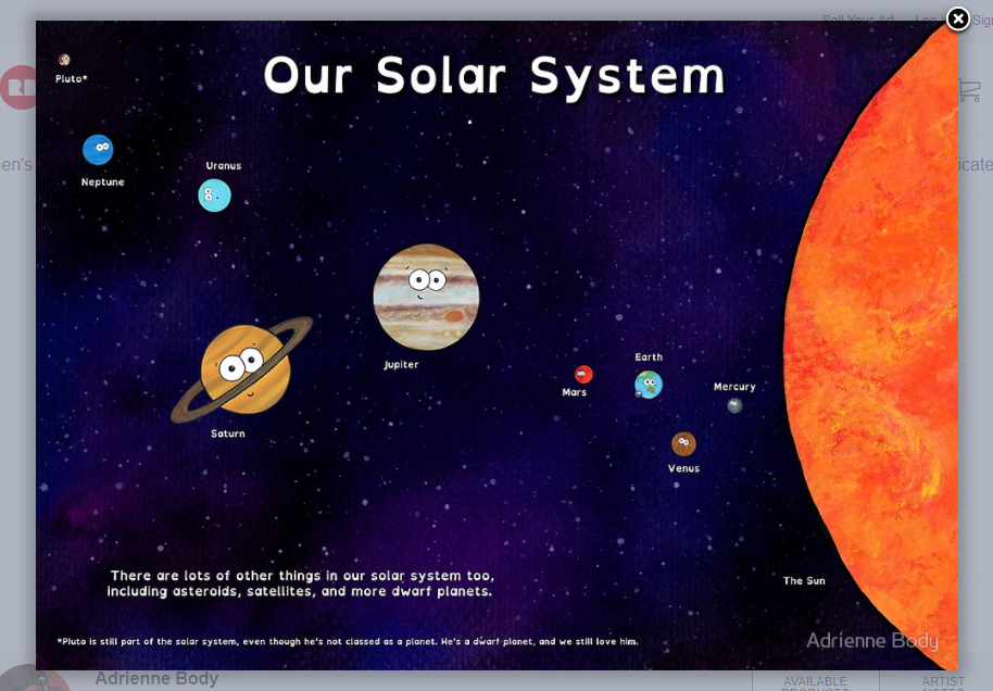 solar system poster adrienne body redbubble