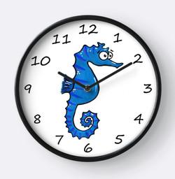 blue seahorse clock Adrienne Body